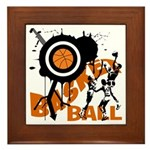 Grunge Basketball Framed Tile
