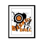 Grunge Basketball Framed Panel Print