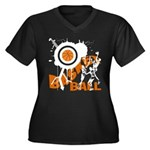 Grunge Basketball Women's Plus Size V-Neck Dark T-