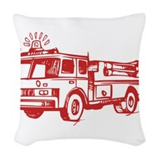 Red Fire Truck Woven Throw Pillow