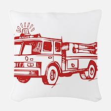 Red Fire Truck Woven Throw Pillow