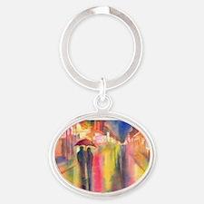 Cute Couple Oval Keychain