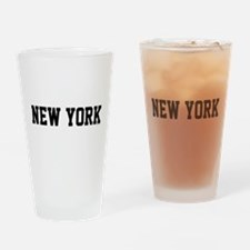 New York Jersy Black Drinking Glass