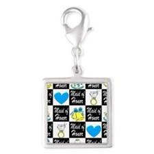BLUE MAID OF HONOR Silver Square Charm