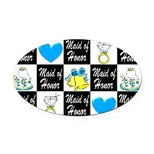 BLUE MAID OF HONOR Oval Car Magnet