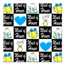 """BLUE MAID OF HONOR Square Car Magnet 3"""" x 3"""""""