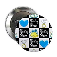 """BLUE MAID OF HONOR 2.25"""" Button"""