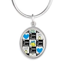BLUE TEAM BRIDE Silver Oval Necklace