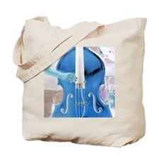 upright bass blue with hand Tote Bag