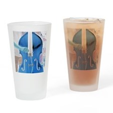 upright bass blue with hand Drinking Glass