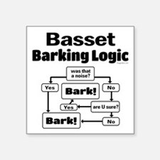 "Basset logic Square Sticker 3"" x 3"""