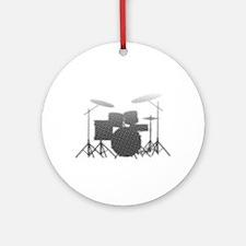 Halftone Drum Kit Round Ornament