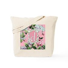 Letter D Monogram Pink Roses Floral Tote Bag