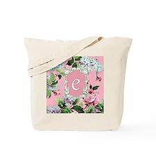 Letter E Monogram Pink Roses Floral Tote Bag
