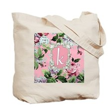 Letter K Monogram Pink Roses Floral Tote Bag