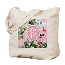 Letter P Monogram Pink Roses Floral Tote Bag