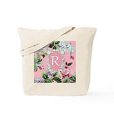 Letter R Monogram Pink Roses Floral Tote Bag