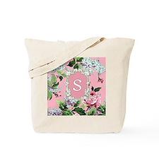 Letter S Monogram Pink Roses Floral Tote Bag