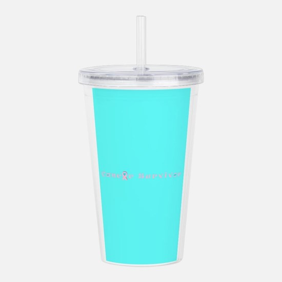 Pink Turquoise Cancer Acrylic Double-Wall Tumbler