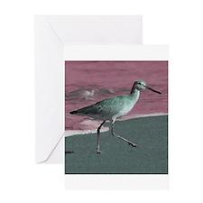 sandpiper bird animal green red Greeting Cards