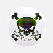 """Watson Tartan Skull 3.5"""" Button"""