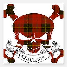 "Wallace Tartan Skull Square Car Magnet 3"" x 3"""