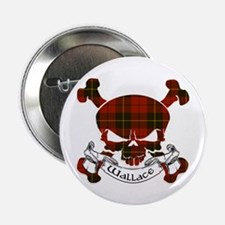 "Wallace Tartan Skull 2.25"" Button"