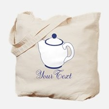 Personalizable Blue Tea Pot Tote Bag