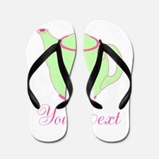 Personalizable Pink and Green Teapot Flip Flops
