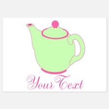 Personalizable Pink and Green Teapot Invitations