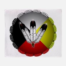 Three Eagle Feathers Throw Blanket