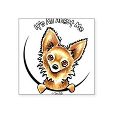 "Cute Long haired chihuahua Square Sticker 3"" x 3"""