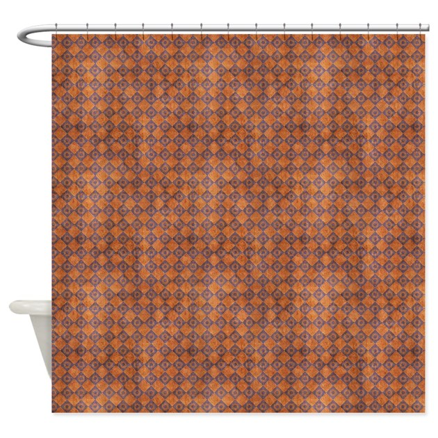 Burnt Orange Diamonds Shower Curtain By AccessorizeMe