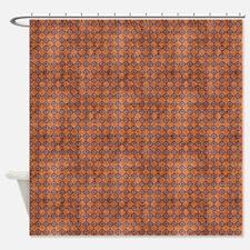 Burnt Orange Diamonds Shower Curtain