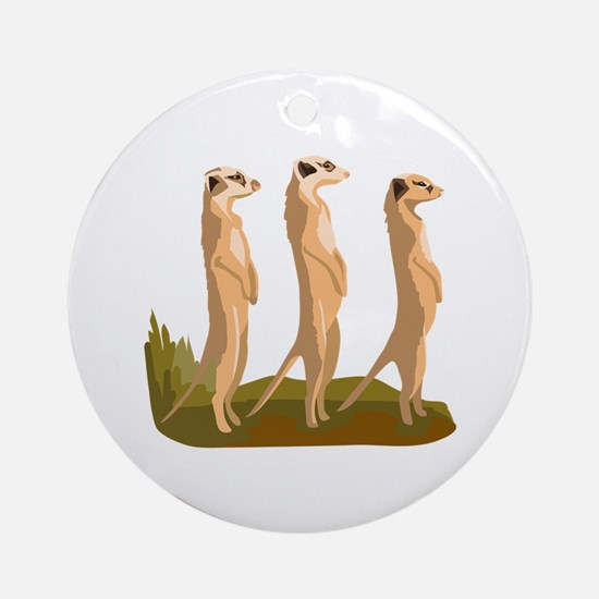 Three Meerkats Ornament (Round)