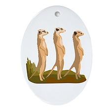 Three Meerkats Ornament (Oval)
