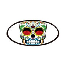White Sugar Skull with Roses in Eye Sockets Patche