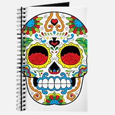 White Sugar Skull with Roses in Eye Sockets Journa
