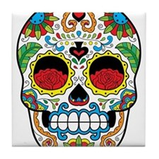 White Sugar Skull with Roses in Eye Sockets Tile C