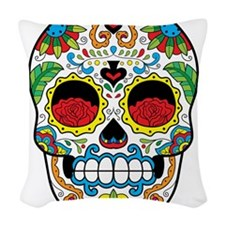 White Sugar Skull with Roses in Eye Sockets Woven