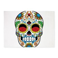 White Sugar Skull with Roses in Eye Sockets 5'x7'A