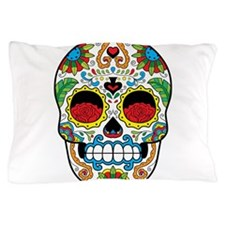 White Sugar Skull with Roses in Eye Sockets Pillow