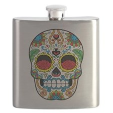 White Sugar Skull with Roses in Eye Sockets Flask
