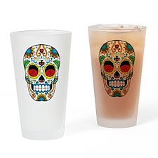 White Sugar Skull with Roses in Eye Sockets Drinki