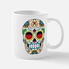 White Sugar Skull with Roses in Eye Sockets Mugs