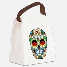 White Sugar Skull with Roses in Eye Sockets Canvas