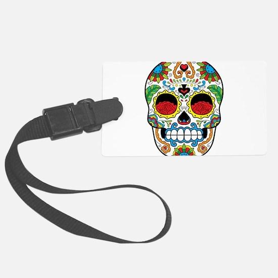 White Sugar Skull with Roses in Eye Sockets Luggag