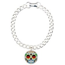 White Sugar Skull with Roses in Eye Sockets Bracel