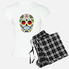 White Sugar Skull with Roses in Eye Sockets Pajama