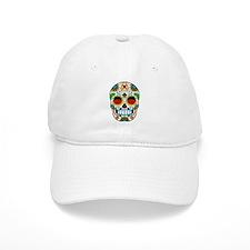 White Sugar Skull with Roses in Eye Sockets Baseba